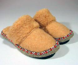 Тапочки шерстяные верблюжьи с опушкой (женские)