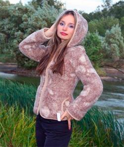 Женский жакет (с капюшоном) из мериносовой шерсти Осень