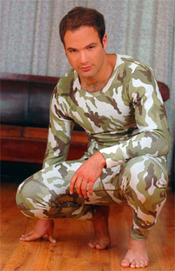 Согревающая футболка из ангоры и хлопка мужская с длинным рукавом Военная